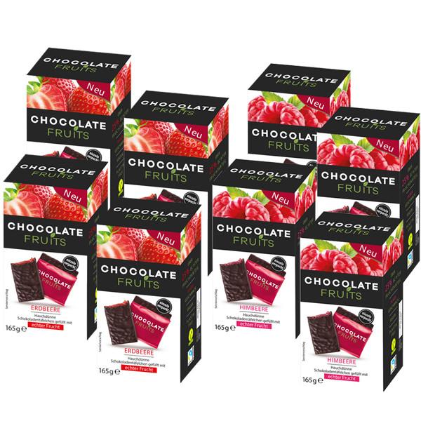 Vorteilspaket Chocolate Fruits 4x Himbeere und 4x Erdbeere