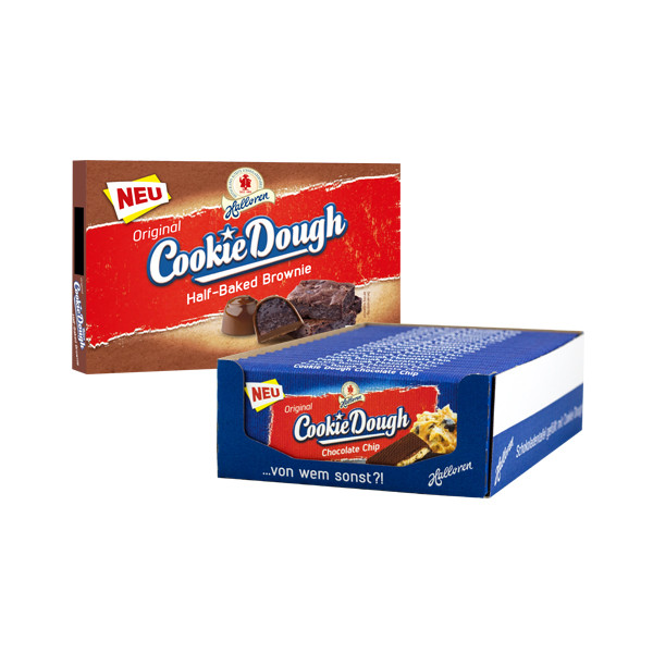 19x Cookie Dough Chocolate Chip Tafel + 1x Brownie Pralinen