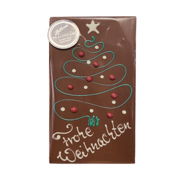Handgefertigte Schokoladentafel mit Weihnachtsmotiv